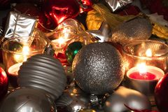 Close up view candles and christmas decoration concept royalty free stock photography