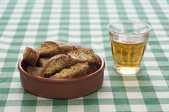 Close-up view of Cantucci and Vin Santo Royalty Free Stock Images