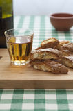 Close-up view of Cantucci and Vin Santo Stock Photos