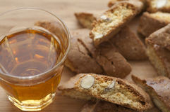 Close-up view of Cantucci and Vin Santo Stock Images