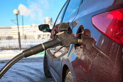 Close up view of car refuel in gas station Royalty Free Stock Photo