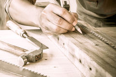 Close Up view of a carpenter. Stock Image