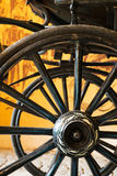 Close up view of carriage wheels with long spokes Royalty Free Stock Images