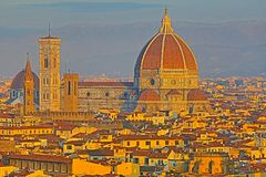 Close up view of Cathedral Santa Maria del Fiore,Florence, royalty free stock photos