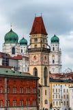 Towers of Passau, Bavaria, Germany. Close-up view of Cathedral and town hall of Passau Bavaria, Germany stock image