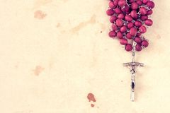Close-up view of catholic rosary. Copy-space for text Stock Photo