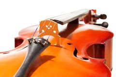 Close-up view of cello body on white background Royalty Free Stock Photo