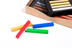 Close up view of the chalk pastels. Royalty Free Stock Photography