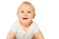 Close-up view of cheerful smiling baby Royalty Free Stock Image