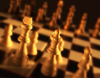 Close up view of chess board showing white pieces Stock Image