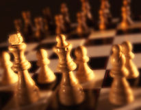 Close up view of chess board showing white pieces Royalty Free Stock Photos