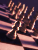 Close up view of chess board showing white pieces Royalty Free Stock Image