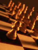 Close up view of chess board showing white pieces Royalty Free Stock Images
