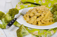 Close up view of chicken with curry sauce and sesame Royalty Free Stock Photography