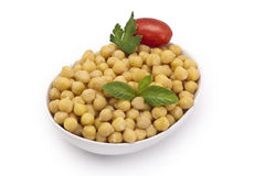 Close up view of chickpea in bowl on white backgro Royalty Free Stock Image