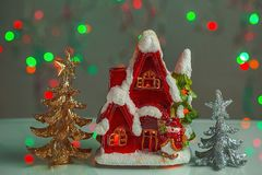 Close up view of christmas decoration isolated. Cute house for candles. Christmas decoration. Postcard. Beautiful christmas backgrounds stock photo