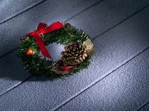 Close up view of christmas and new year wreath stock photo