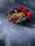 Close up view of christmas and new year wreath royalty free stock photos