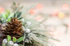 Close-up view of christmas wreath. And bokeh background royalty free stock image