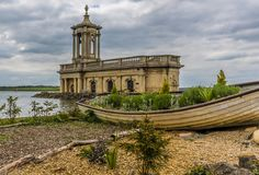 A close up view of the church at Normanton across Rutland Water in the UK royalty free stock photography