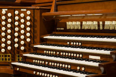 Pipe Organ. Close up view of a church pipe organ Royalty Free Stock Images