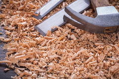 Close up view of claw hammer and metal chisels in Stock Image