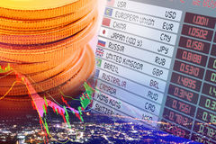 Close up view of coins, digital screen / display panel of foreign currency exchange rates. Royalty Free Stock Images