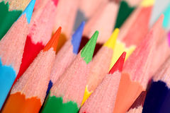Close up view on colored pencils Royalty Free Stock Photos