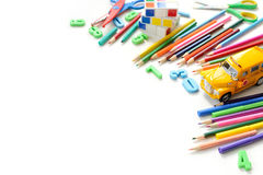 Close up view colorful back to school supplies border over white table. Mental arithmetic. Stock Photography