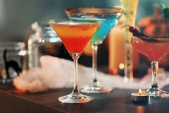 Close up view of colorful cocktails. For Halloween party royalty free stock photo