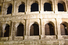 Close up view of Colosseum at night Royalty Free Stock Photography