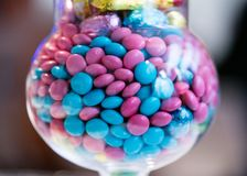 Gems Candy in a Jar close view. Close up view of colourful Gems Candy in a Jar royalty free stock photo