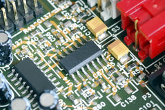 Close-up view of the computer circuit board. The close-up view of the computer circuit board Royalty Free Stock Images
