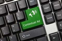 Conceptual keyboard - Contextual Ad green key stock images