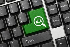 Conceptual keyboard - Search green key with loupe and photo symbols stock photos