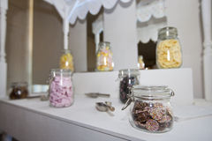 Close-up view of confectionary in glass jars Royalty Free Stock Images
