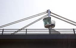 Close-up view of a control tower on top of a bridge Stock Photos