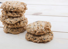 Close up view cookies. Over wooden backgroun stock photos