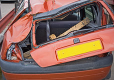 Close up view of a crashed car. stock photography