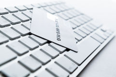 Close up view of credit card on a keyboard royalty free stock images