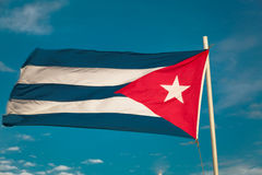 Close up view of cuban flag against blue sky Stock Photography