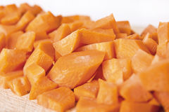 Close-Up View of Cut Carrot Pieces Royalty Free Stock Images