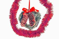 Close up view of cute door decoration. Christmas backgrounds.  stock image