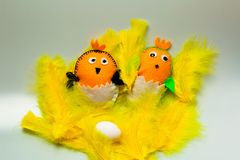 Close up view of cute handmade Easter decoration element. Beautiful backgrounds stock photo