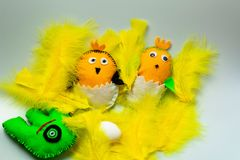 Close up view of cute handmade Easter decoration element. Beautiful backgrounds royalty free stock photo