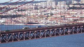 Close Up View on the 25 de Abril Bridge in Lisbon stock video footage