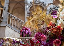Close up view of decorations and the interior staircase at the Danieli Hotel decorated for the Venice Carnival royalty free stock images