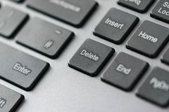 Close up view of delete icon on a computer keyboard keys royalty free stock photo