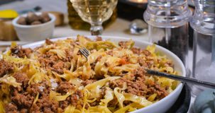 Close up view of delicious fettuccine in bolognese sauce. Close up view of delicious steamy fettuccine in bolognese sauce stock photos