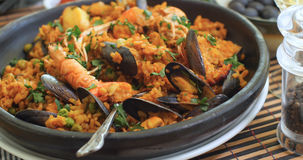 Close up view of delicious Spanish seafood paella Royalty Free Stock Image